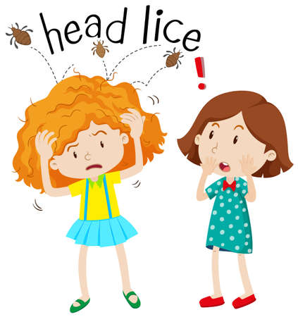 lice: Little girl having head lice illustration Illustration