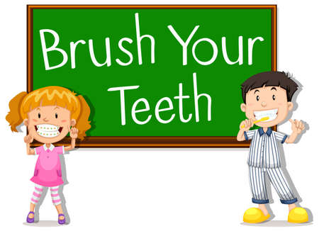 brush the teeth: Children and board saying brush your teeth illustration