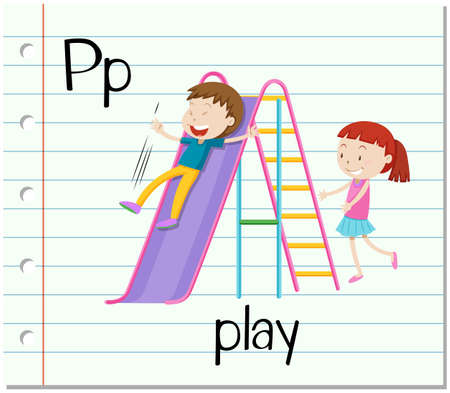 p illustration: Flashcard letter P is for play illustration