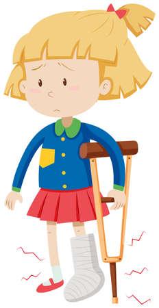 Little girl with broken leg illustration  イラスト・ベクター素材
