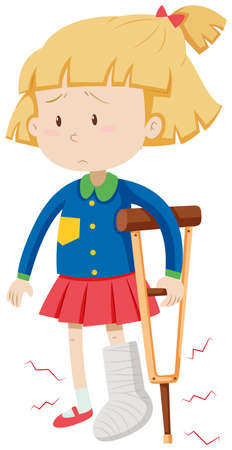 Little girl with broken leg illustration 矢量图像