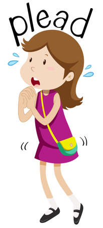 pleading: Girl pleading for something illustration Illustration
