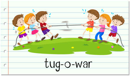 tug war: Children playing tug-o-war illustration