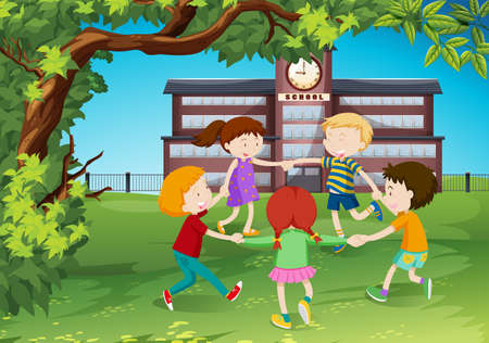 children circle: Children circle around in the park illustration