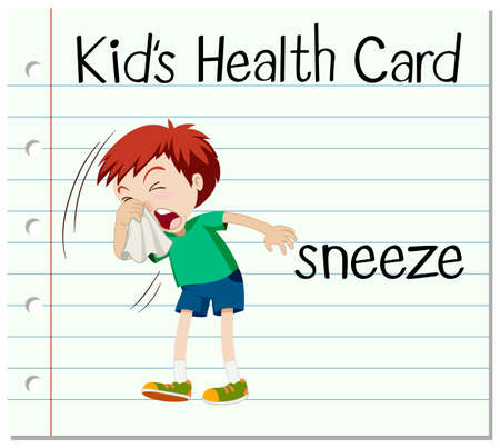 sneeze: Flashcard with word sneeze illustration Illustration