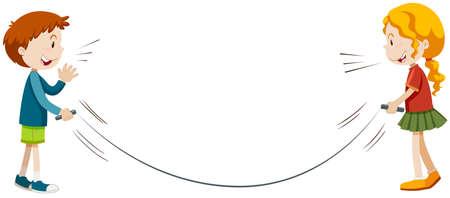 saltar la cuerda: Ni�os y ni�as jugando saltar la cuerda ilustraci�n Vectores