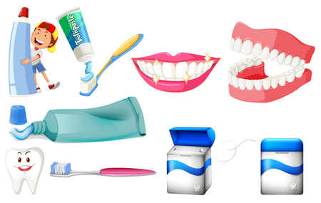 tooth paste: Dental set with boy and clean teeth illustration