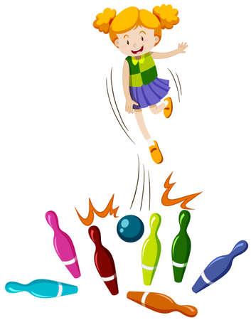 Girl throwing bowling ball at the pins illustration