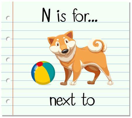 Flashcard letter N is for next to illustration Illustration