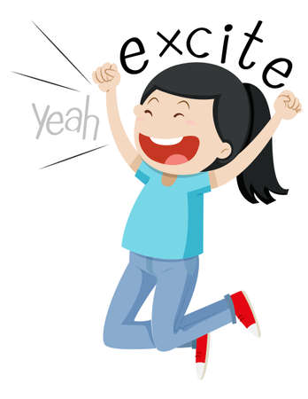 excite: Woman jumping up with joy illustration