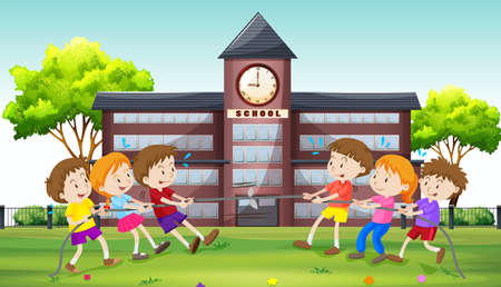 tug: Children playing tug of war at school illustration