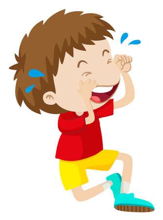 niño llorando: Boy en camisa roja ilustración de llorar Vectores