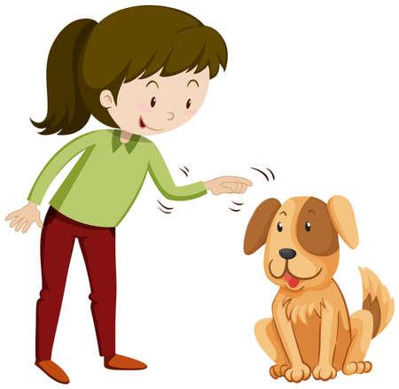 Niña y perrito con la cara feliz ilustración Foto de archivo - 53057904