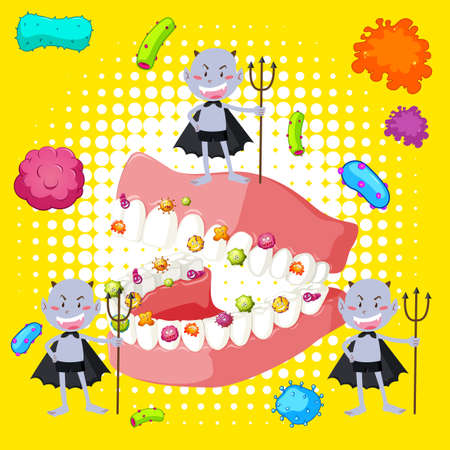 dirty teeth: Bacteria in human mouth illustration Illustration