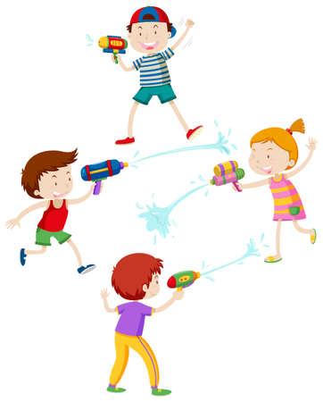 물 총 일러스트와 함께 노는 아이들 일러스트