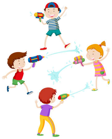 Children playing with water gun illustration