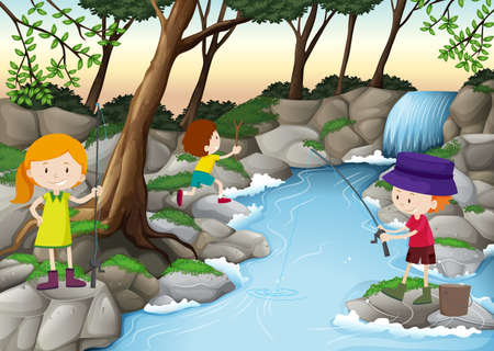 waterfall in forest: Children fishing in the river illustration