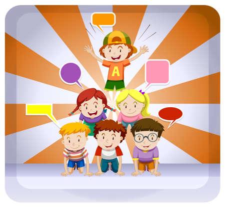 human pyramid: Los niños que juegan pirámide humana en el botón ilustración