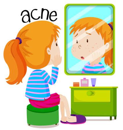 Chica busca en acnes en la ilustración del espejo Ilustración de vector