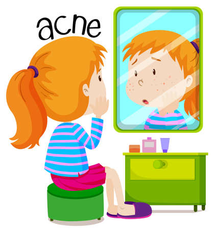 puberty: Girl looking at acnes in the mirror illustration Illustration