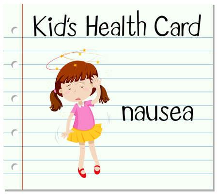 nausea: Health card with girl having nausea illustration