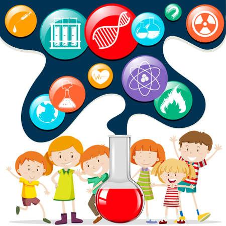 infancia: Los niños y los símbolos de la ciencia ilustración Vectores