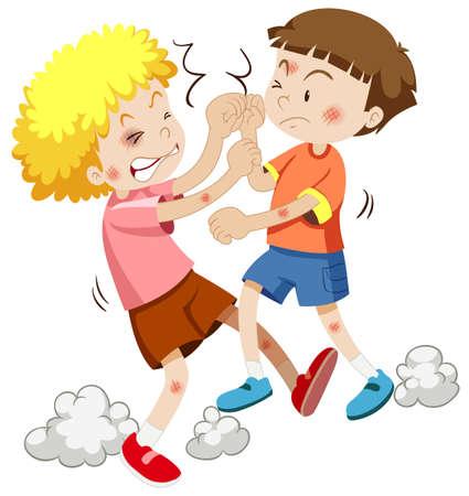 jovenes estudiantes: Dos niño luchando entre sí ilustración