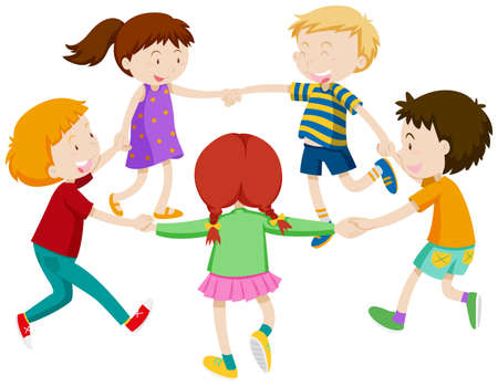 Boys and girls holding hands in circle illustration Illustration