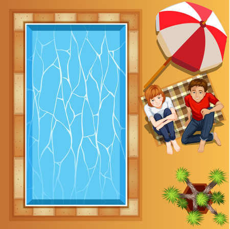 clip arts: Lover couple sitting by the pool illustration