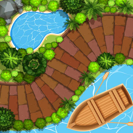 top view: Park view with boat on water illustration Illustration
