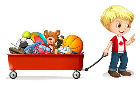 pull toy: Muchacho que tira de la compra lleno de ilustración juguetes
