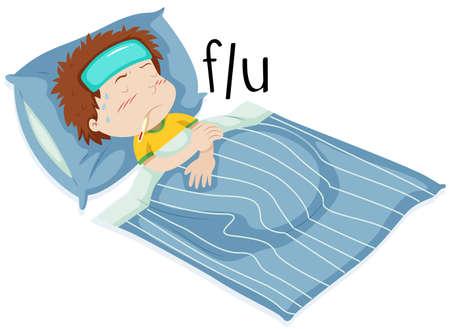 flue: Boy in bed having flue illustration