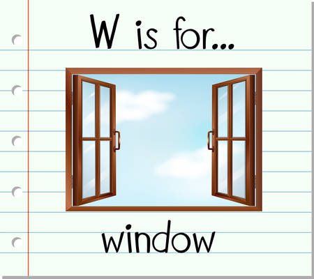 Flashcard letter W is for window illustration