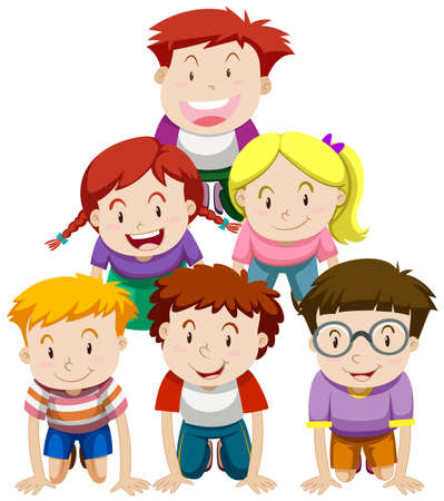 small group of objects: Children playing human pyramid illustration Illustration