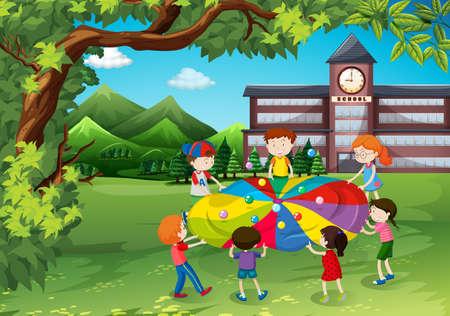 niÑos en el colegio: Niños jugando en el patio de la escuela ilustración