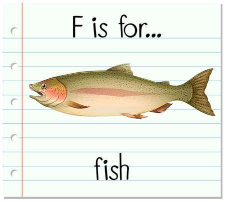 Flashcard letter F is for fish illustration Illustration
