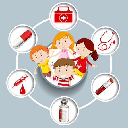 medical symbols: Children and medical symbols illustration