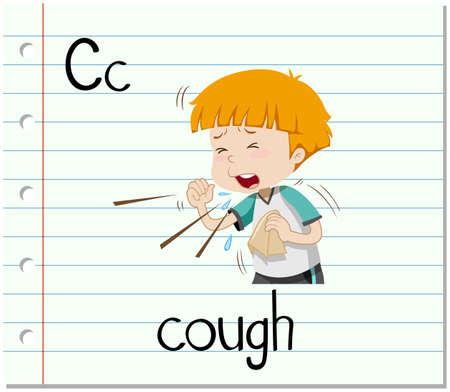 cough: Flashcard letter C is for cough illustration Illustration