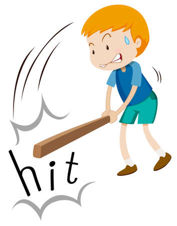 fighting: Boy with wooden stick hitting illustration
