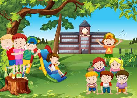 学校ヤードの図で遊ぶ子供たち  イラスト・ベクター素材