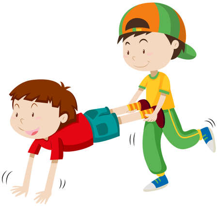 niños actuando: Dos niños que juegan el ejemplo rueda de la carretilla de la raza