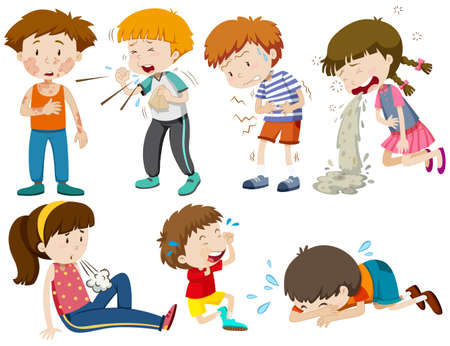 flu: Boys and girls being sick illustration