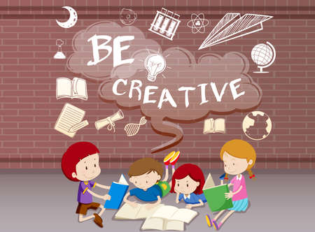 assignment: Children reading books together illustration