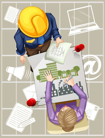 industrail: Two people working on designing buildings illustration Illustration