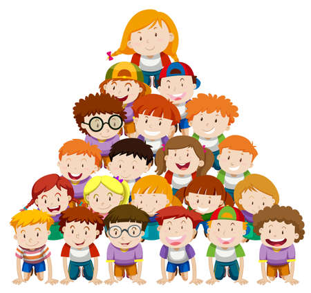 human pyramid: Children doing human pyramid illustration