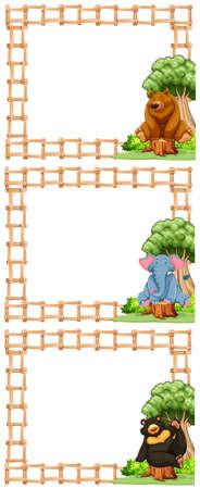 animales silvestres: diseño de marco de madera con animales salvajes ilustración