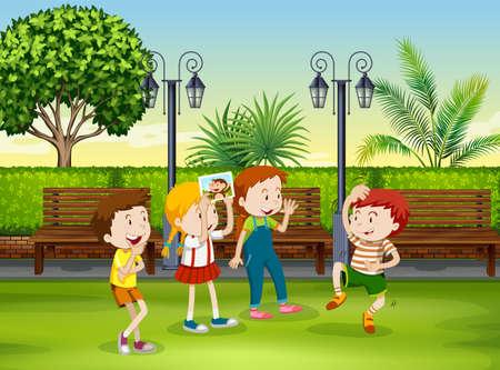 niños jugando en el parque: Niños y niñas jugando mono en el parque de la ilustración Vectores