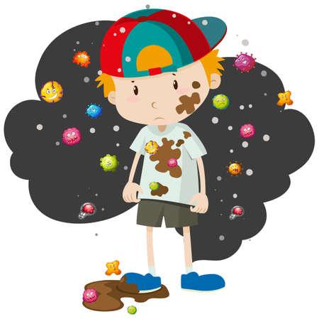 Dirty jongen vol met bacteriën illustratie Vector Illustratie