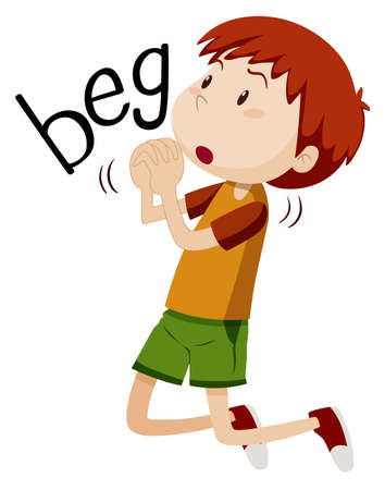 beg: Boy begging for something illustration