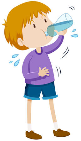 Boy drinking water from bottle illustration